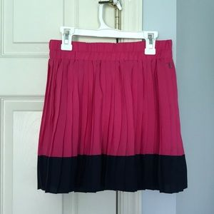 Pink and Navy Blue Pleated Skirt
